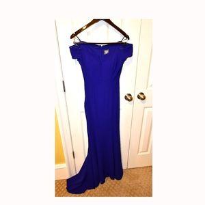 Vince Camuto Cobalt Blue V-Neck Trumpet Gown